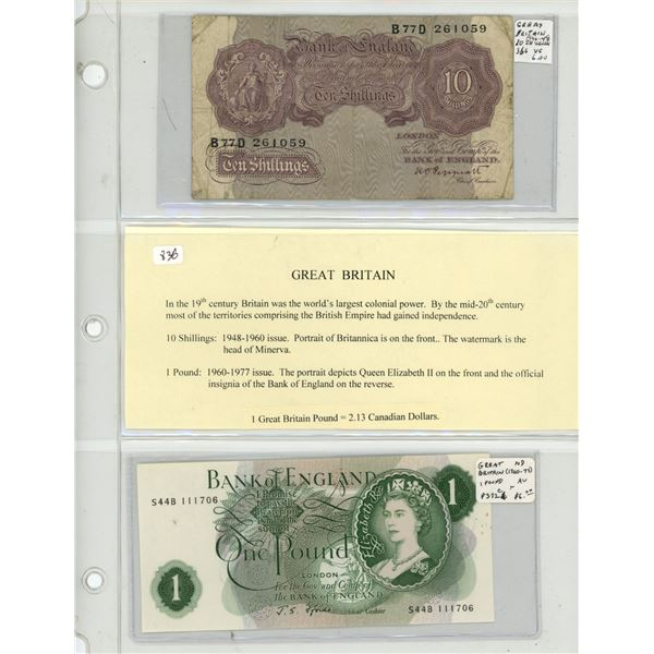 Great Britain. Lot of 2 British notes. 1948-1960 10 Shillings P-366 VG and 1960-1977 1 Pound P-372c