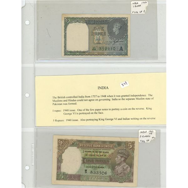 India (British). Lot of 2 World War II notes, both depicting King George VI. 1940 1 Rupee P-25d VF a