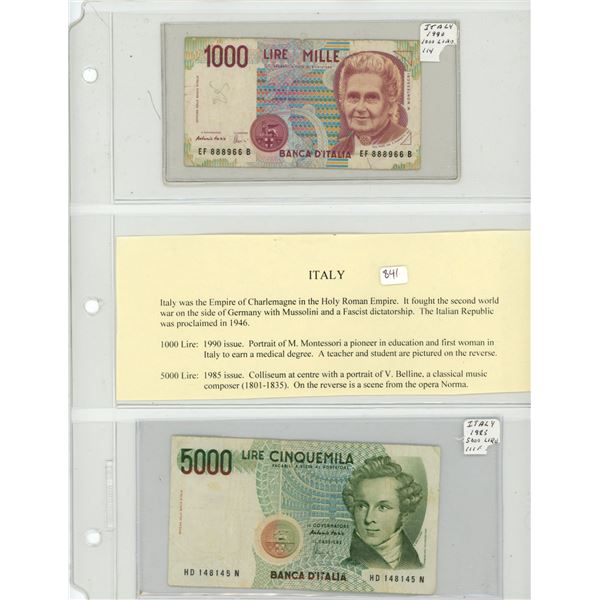 Italy. Lot of 2 Italian inflation notes. 1990 1000 Lire P-1114 F and 1985 5000 Lire P-111f VF.