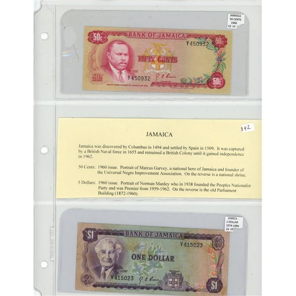 Jamaica. Lot of 2 notes: 1960 50 Cents P-55 VF and 1974-1978 $1 P-24 VF.
