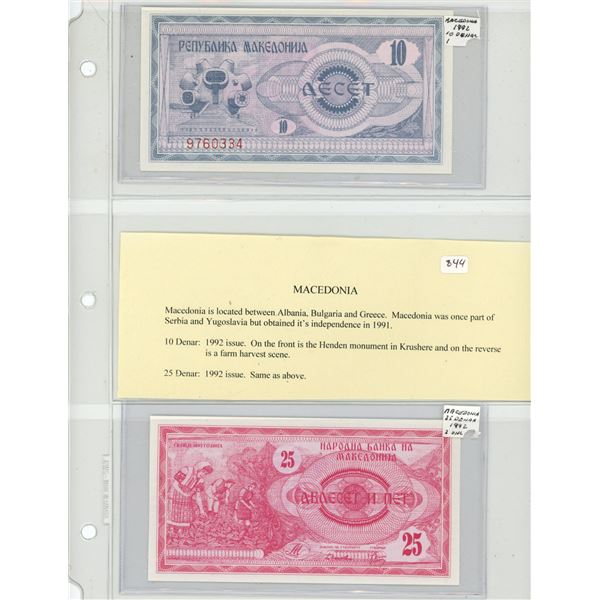 Macedonia. Lot of 2 notes: 1992 10 Denar P-1 and 1992 25 Denar P-2. The first notes issued by this n