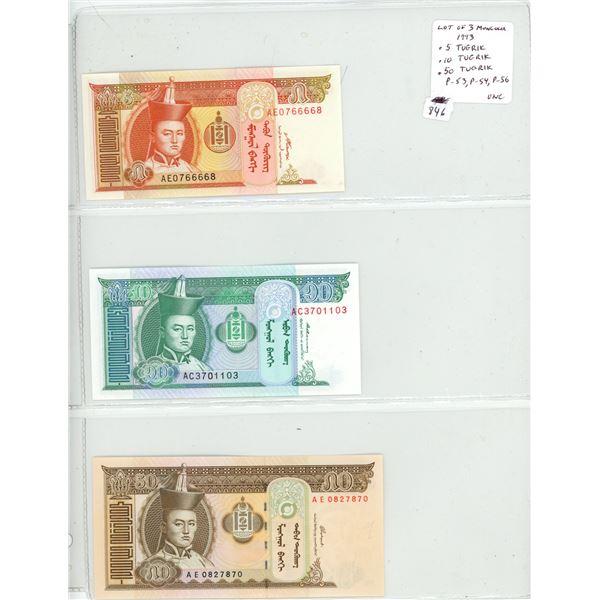 Lot of 3 Mongolia notes. 1993 5 Tugrik, 10 Tugrik, 50 Tugrik. P-53, P-54, P-56. Unc.