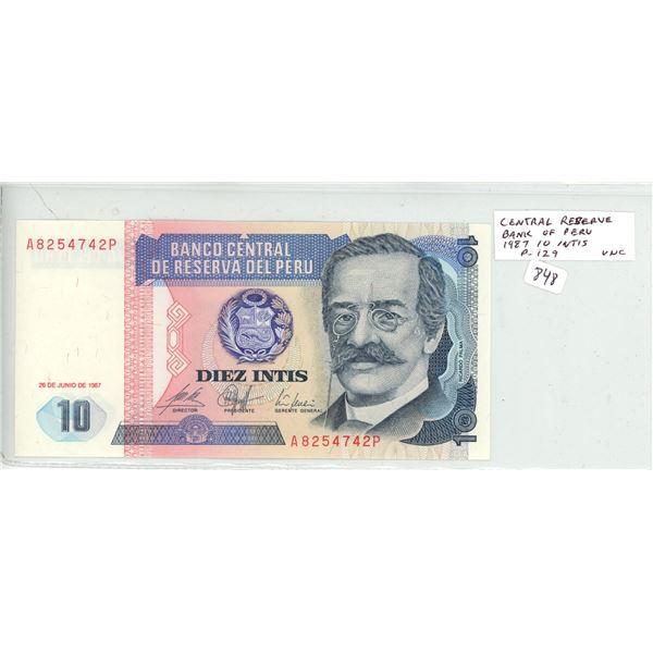 Peru. Central Reserve Bank of Peru. 1987 10 Intis. P-129. Unc.