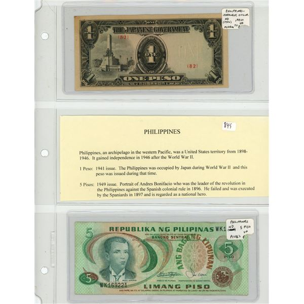 Philippines. Lot of 2 notes: 1942 Japanese Invasion Money 1 Peso M-106a VF and ND 5 Piso P-148 VF.