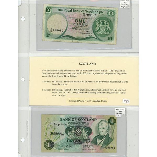 Scotland. Lot of 2 Chartered Bank Notes. 1985 1 Pound Royal Bank of Scotland P-341b F and 1986 Bank