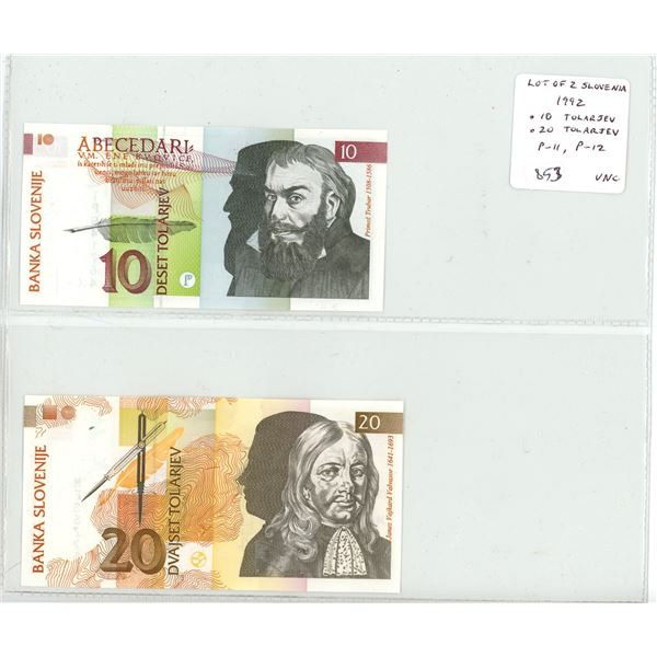 Lot of 2 Slovenia notes. 1992 10 Tolarjev and 20 Tolarjev. P-11, P-12. The first notes of the new Re
