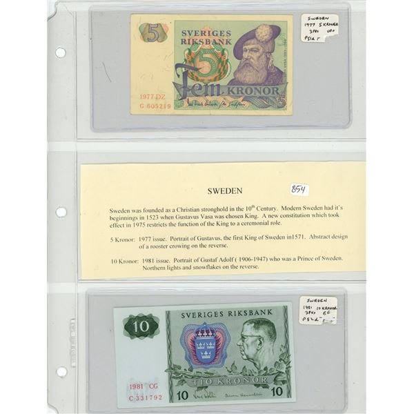 Sweden. Lot of 2 notes. 1977 5 Kronor P-51d VF+ and 1981 10 Kronor P-52d EF.