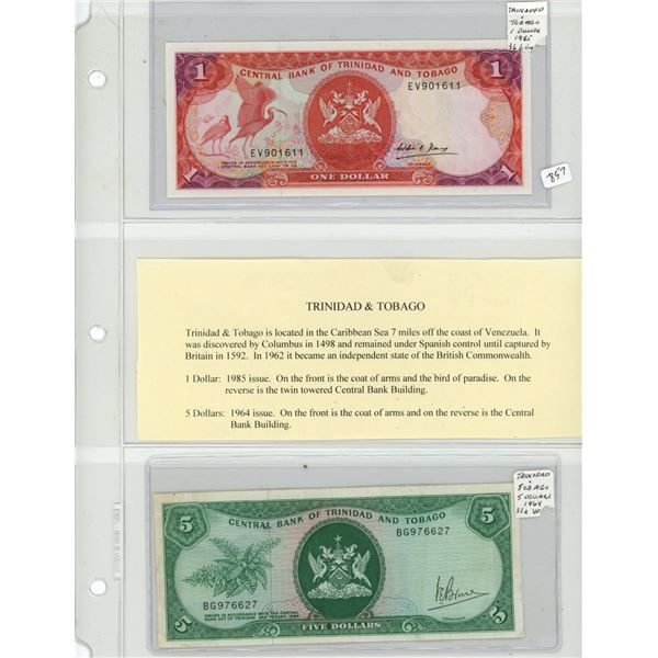 Trinidad and Tobago. Lot of 2 notes. 1985 $1 P-36b.Unc and 1964 $5 P-31a VF.