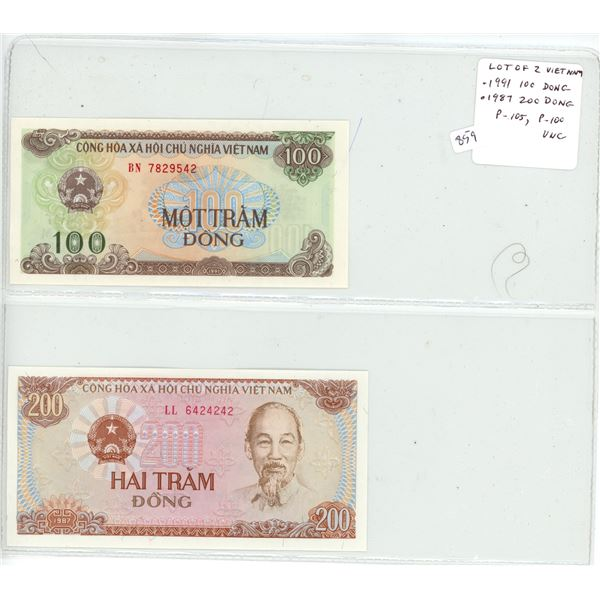 Lot of 2 Vietnam notes. 1991 100 Dong & 1987 200 Dong. Ho Chi Minh. P-105, P-100. Unc.