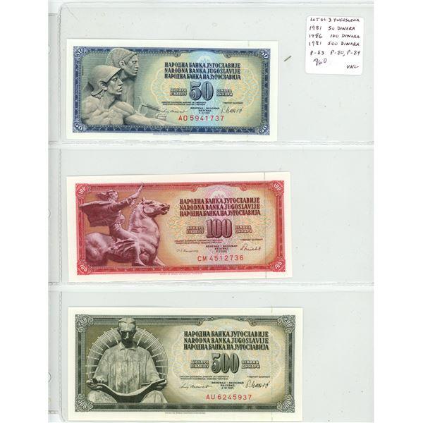 Lot of 3 Yugoslavia notes. 1981 50 Dinara, 1986 100 Dinara, 1981 500 Dinara. P-83, P-80, P-84. Unc.