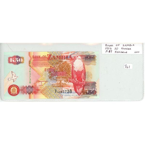 Zambia. Bank of Zambia. 1992 50 Kwacha. African Fish Eagle. P-37. Unc.