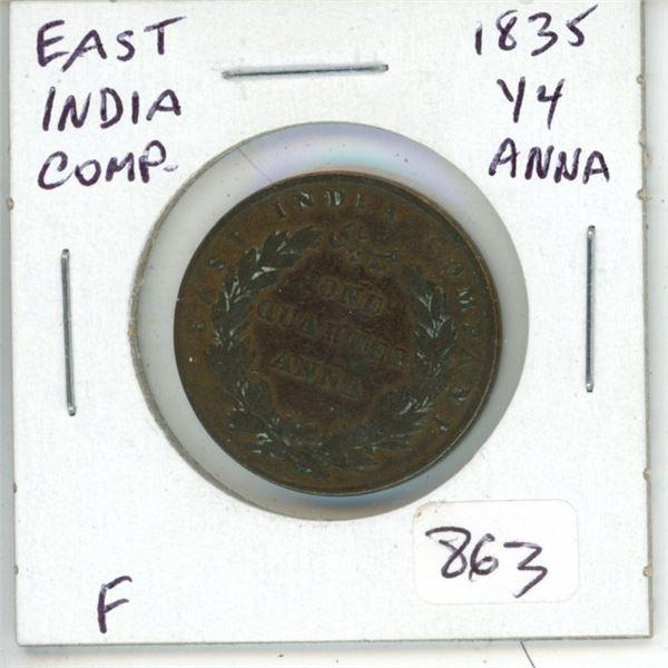 East India Company 1835 ¼ Anna. F.