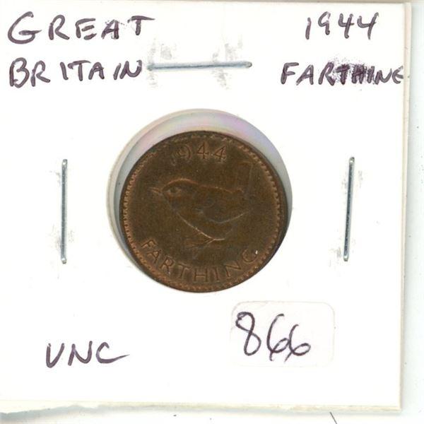 Great Britain. 1944 World War II Farthing. Unc.