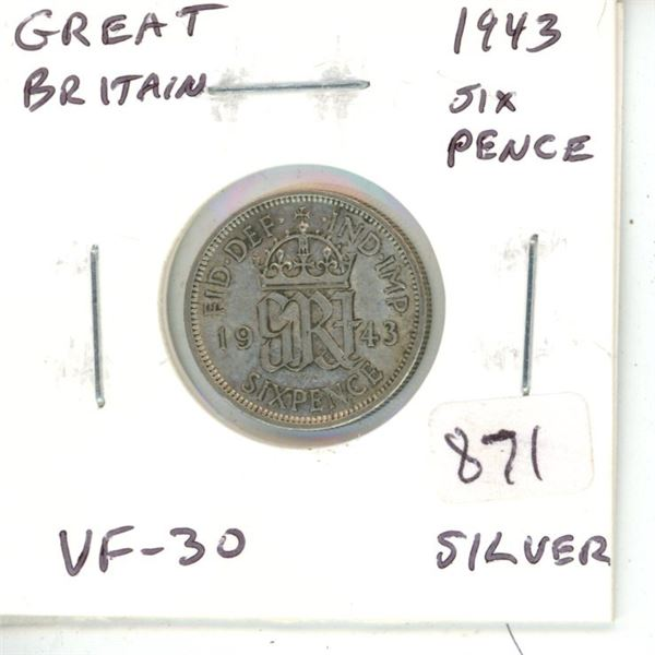 Great Britain. 1943 World War II Silver 6 Pence. VF-30 with lustre.