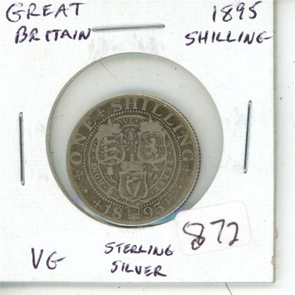 Great Britain. 1895 Queen Victoria Sterling Silver Shilling. VG.