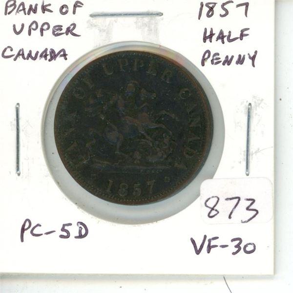 Province of Canada. 1857 Bank of Upper Canada Half Penny. Pre-Confederation Token. PC-5D. VF-30.