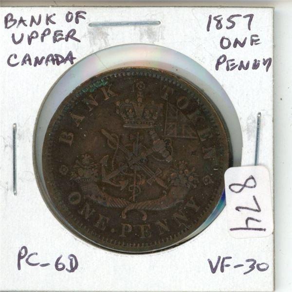 Province of Canada. 1857 Bank of Upper Canada Penny. Pre-Confederation Token. PC-6D. VF-30.