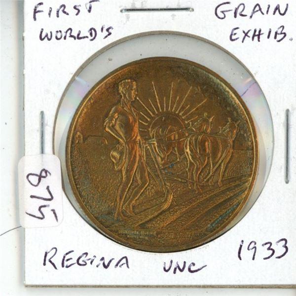 Regina. 1933 World's First Grain Exhibition medal. Unc. Scarce.
