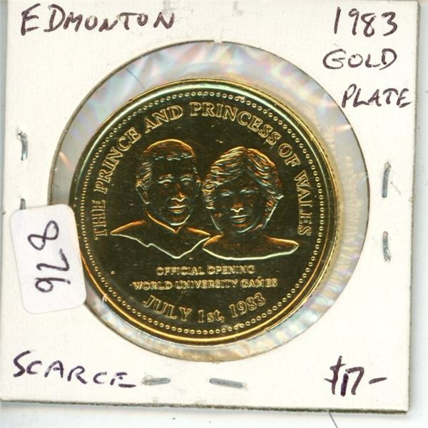 Edmonton. 1983 Gold Plated Trade Dollar. Depicts the Official Visit of Prince Charles and Princess D