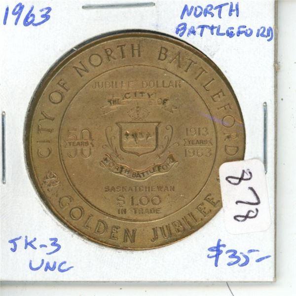 North Battleford, Sask. 1963 Trade Dollar celebrating the 50th Anniversary of the city. SK-3. Saskat