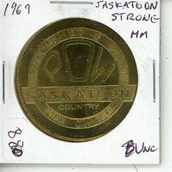 Saskatoon. 1969 Trade Dollar. Strong Mint Mark variety. Unc.