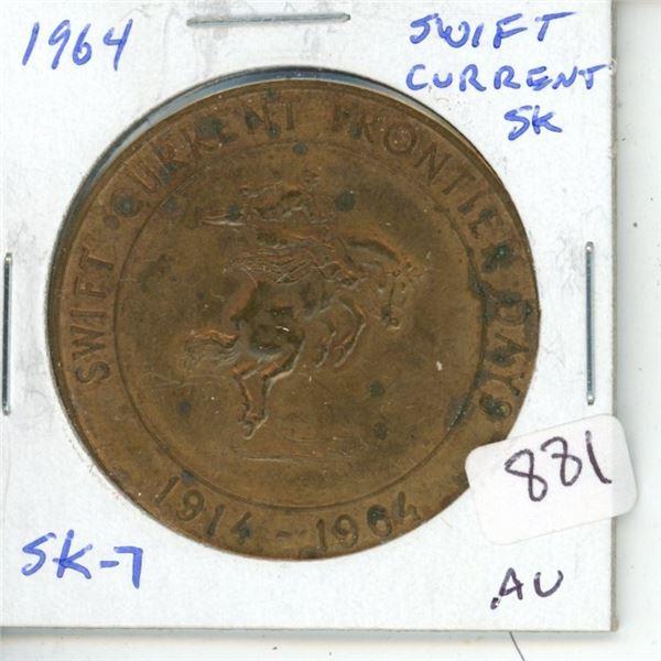 Swift Current, Sask. 1964 Trade Dollar. SK-7. Sask's 7th Trade Dollar. AU.