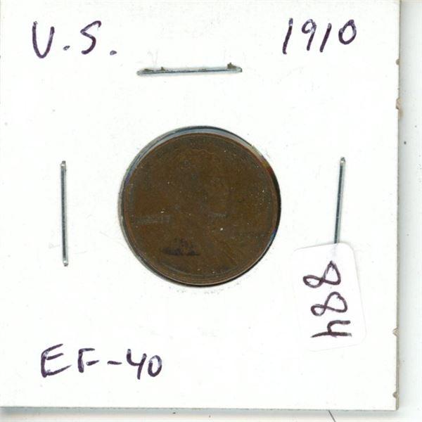 U.S. 1910 Lincoln Cent. EF-40.