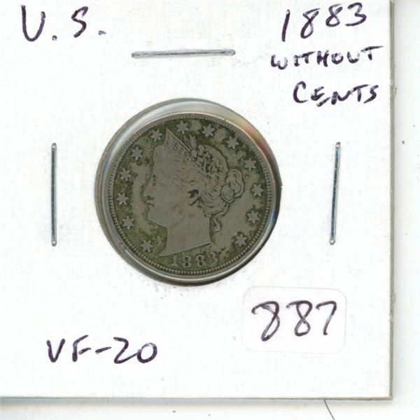 U.S. 1883 5 Cents (without CENTS variety). VF-20.