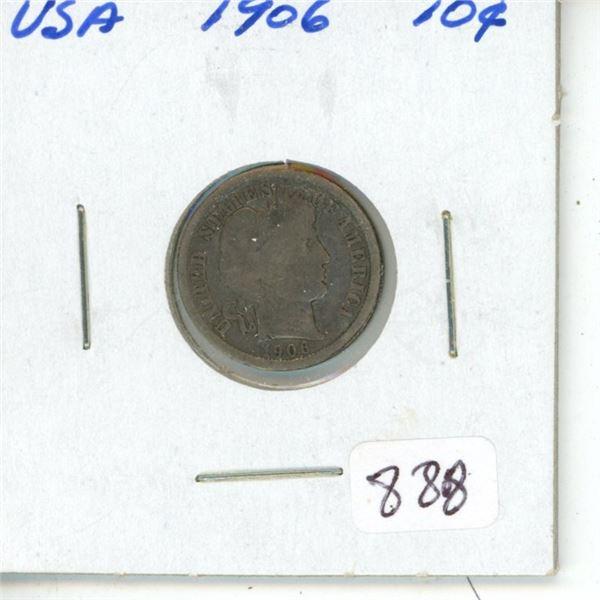 U.S. 1906 Barber Silver Dime. Good.