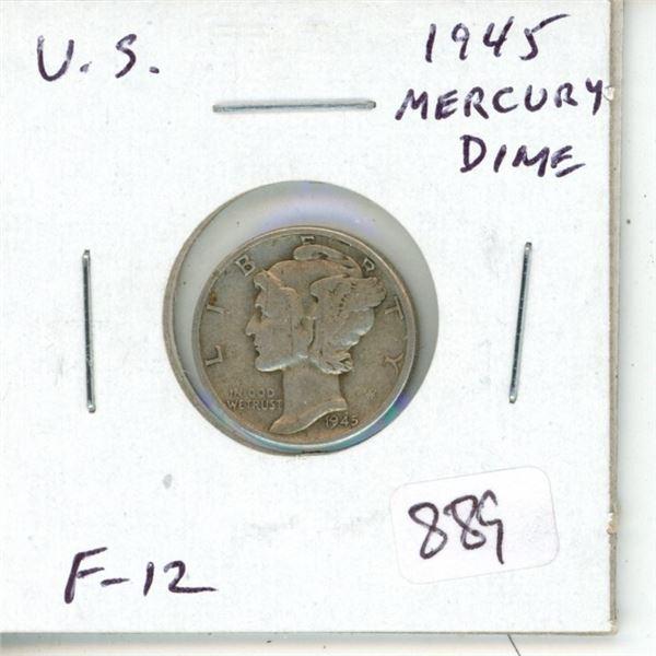 U.S. 1945 Silver Mercury Dime. F-12.