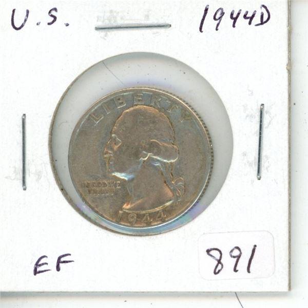 U.S. 1944D silver quarter. Denver Mint. EF-40.