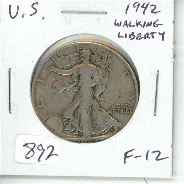 U.S. 1942 Walking Liberty Silver Half Dollar. Philadelphia Mint. F-12.