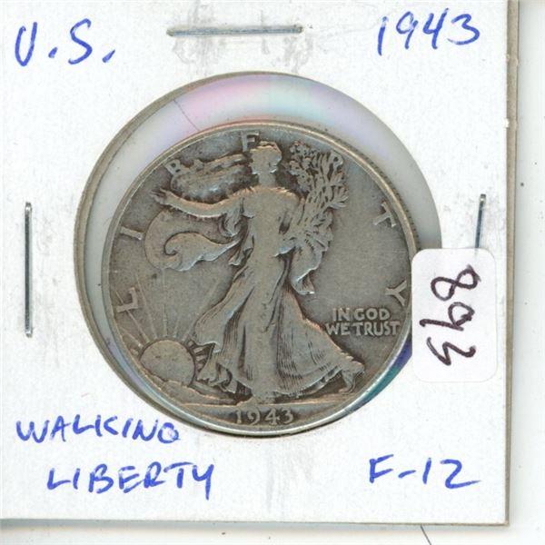 U.S. 1943 Walking Liberty Silver Half Dollar. Philadelphia Mint. F-12.