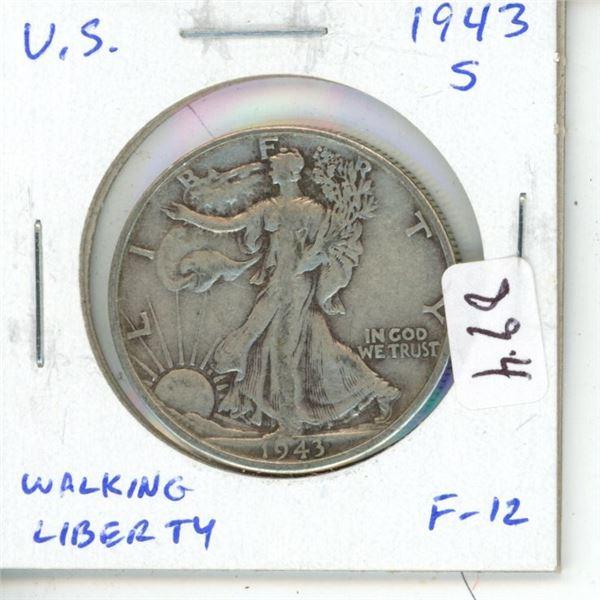 U.S. 1943S Walking Liberty Silver Half Dollar. San Francisco Mint. F-12.