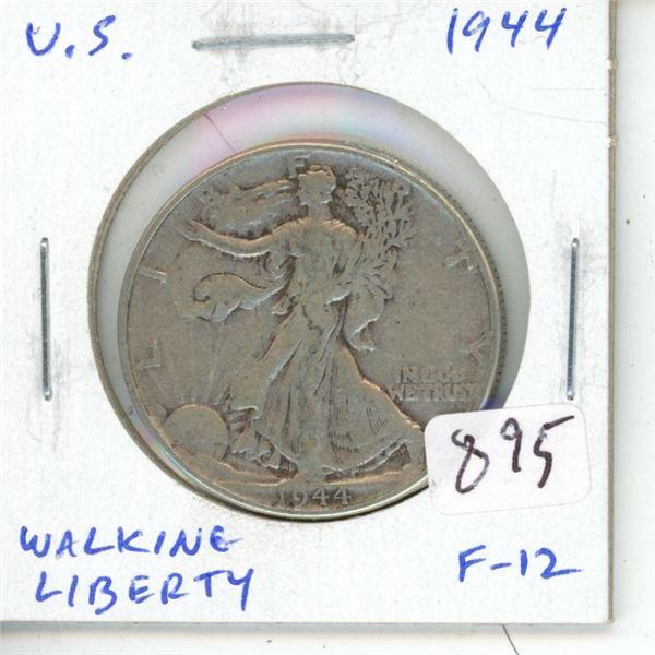 U.S. 1944 Walking Liberty Silver Half Dollar. Philadelphia Mint. F-12.