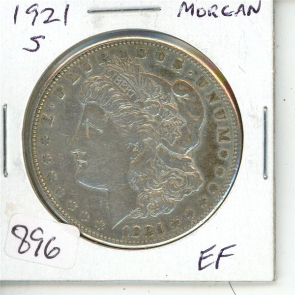U.S 1921S Morgan Silver Dollar. San Francisco Mint. Coin is 100 Years Old. EF.40.