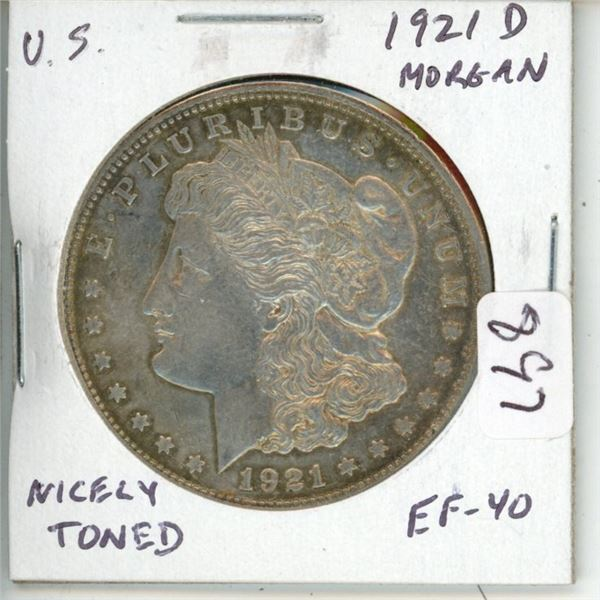 U.S. 1921D Morgan Silver Dollar. Denver Mint. Coin is 100 Years Old. EF-40 Nicely Toned.