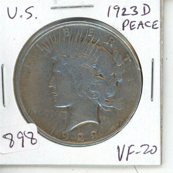U.S. 1923D Peace Silver Dollar. Denver Mint. VF-20.