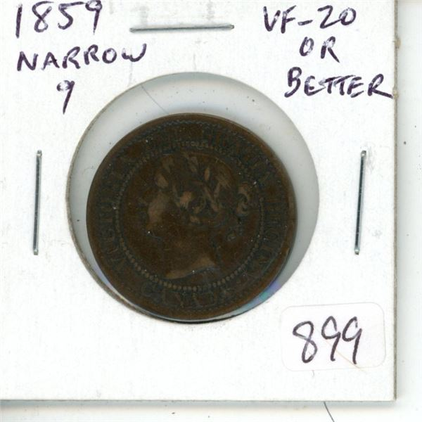 Canada. 1859 Narrow 9 Victorian Large Cent. VF-20 or better.