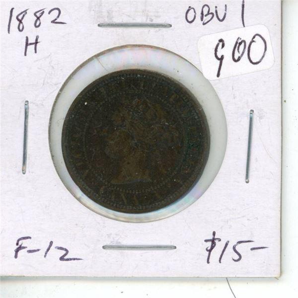 1882H Obverse 1 Victorian Large Cent. Heaton Mint. F-12.