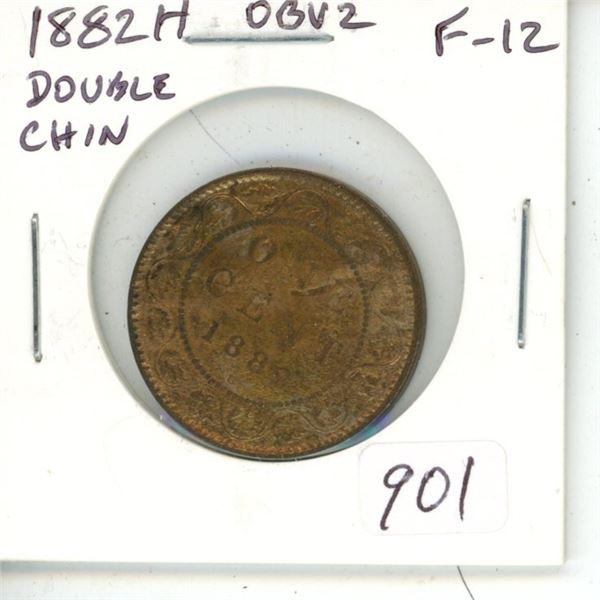 1882H Obverse 2 (Double Chin) Victorian Large Cent. Heaton Mint. F-12.