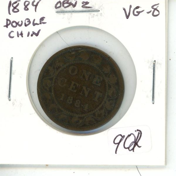 1884 Obverse 2 (Double Chin) Victorian Large Cent. Heaton Mint. VG-8.
