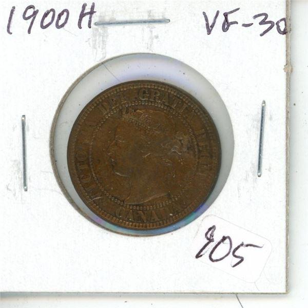 1900H Victorian Large Cent. Heaton Mint VF-30.