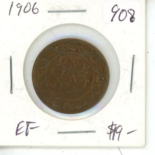 1906 Edward VII Large Cent. EF-40.