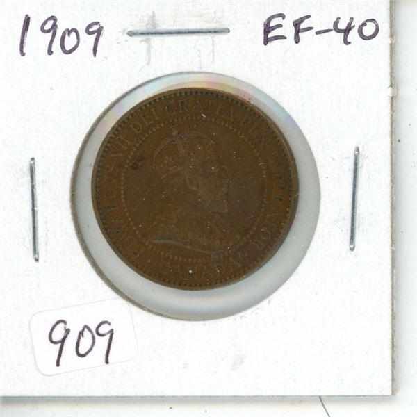 1909 Edward VII Large Cent. EF-40.
