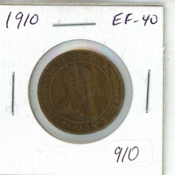 1910 Edward VII Large Cent. The last issue of King Edward VII. EF-40.