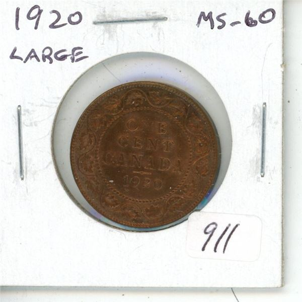1920 George V Large Cent. The last large cent issued. MS-60 Red & Brown.