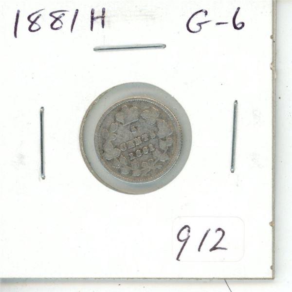 1881H Victorian Silver 5 Cents. Heaton Mint. G-6.