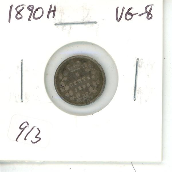 1890H Victorian Silver 5 Cents. Heaton Mint. VG-8.