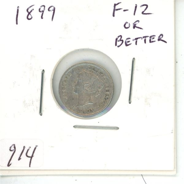 1899 Victorian Silver 5 Cents. F-12 or better.